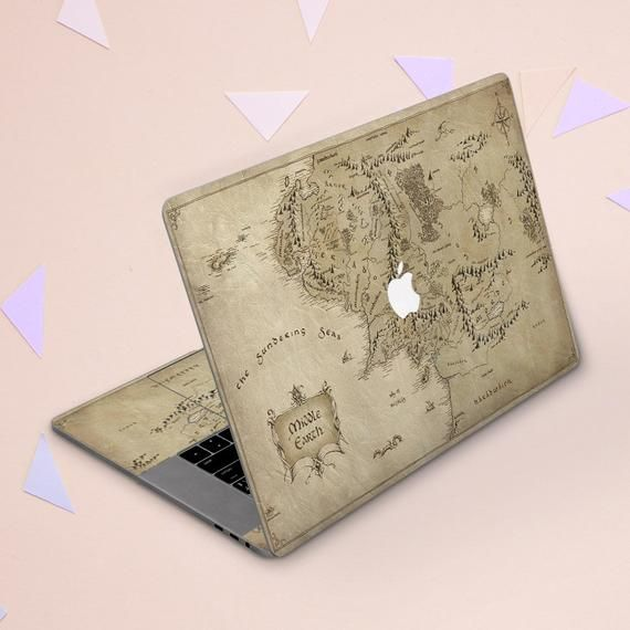 Lord of the rings skin Middleearth map Macbook skin vintage Macbook skin beige Macbook Air 11 Macbook sticker Tolkiends fan gift SSm_154