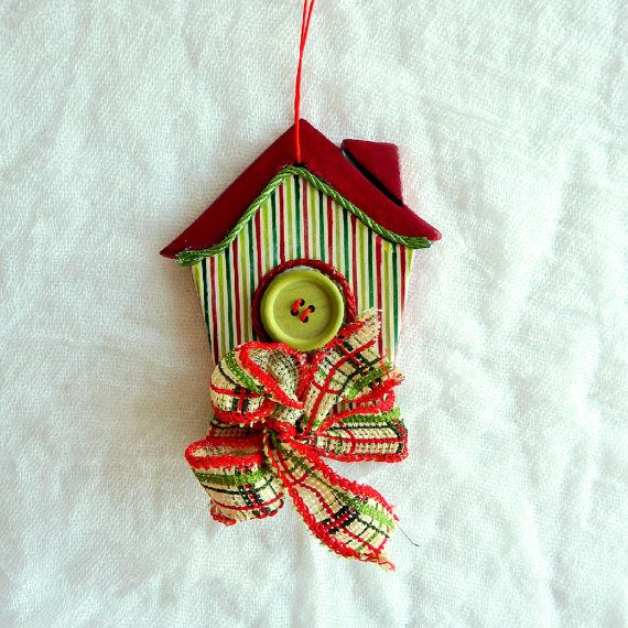 Christmas bird house tree decor New year good luck charm good luck gift ceramic ornament hanging Christmas house