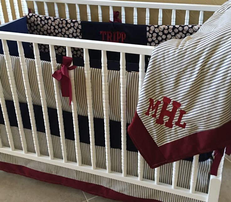 CUSTOM BABY BEDDING vintage baseball set 4 pc set navy and red by BabiesNBaubles on Etsy https://www.etsy.com/listing/474407987/custom-baby-bedding-vintage-baseball-set