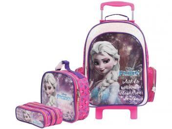39600cd67 Mochilete com Rodinhas Tam. G Dermiwil - Elsa Frozen + Lancheira ...