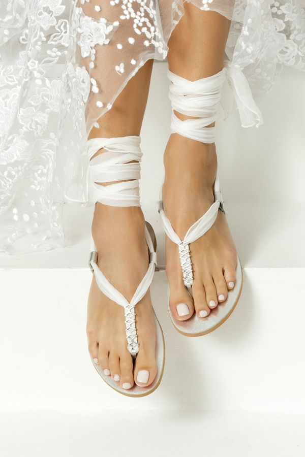 Wedding Sandals White Bridal Sandals Shoes For Bride Boho Etsy In 2021 Wedding Sandals Bridal Shoes Bridal Sandals