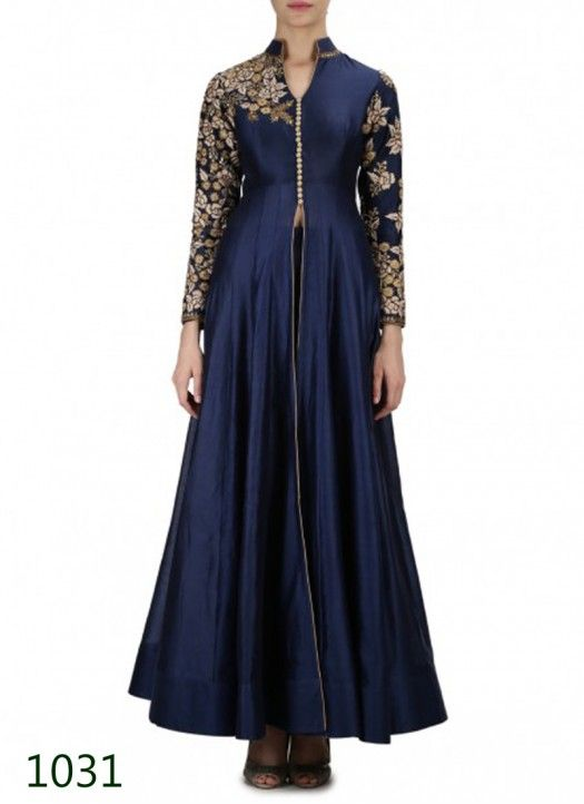 Navy Blue Embroidered Anarkali Palazzo Suit