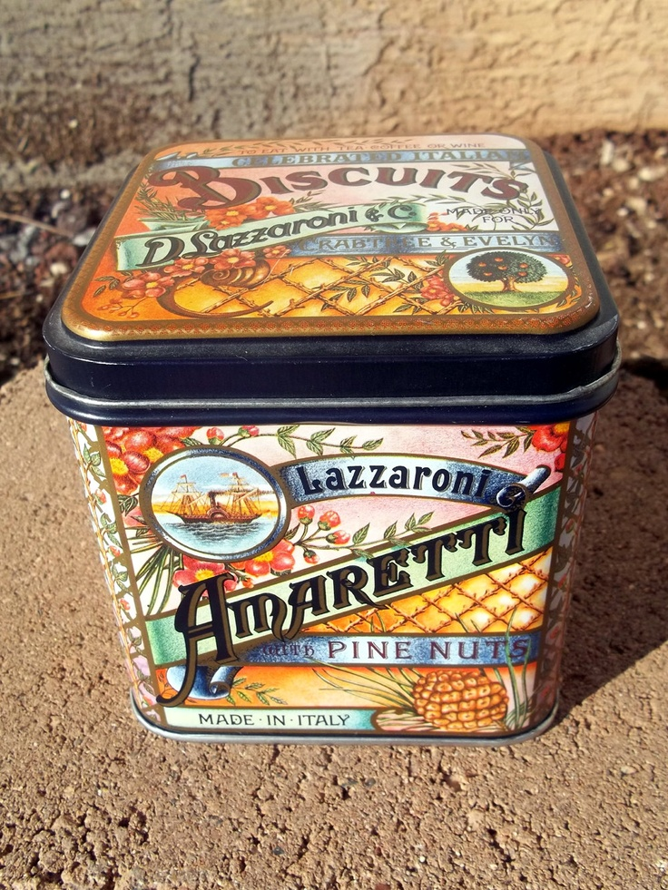 Ornate cookie #tin, Lazzaroni biscuits, vintage food canister, 80s. $9.00, via Etsy.
