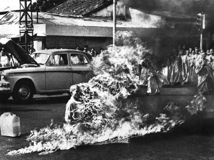 Image result for A Buddhist Monk protesting against the pro-Catholic Diem regime, Saigon, Vietnam, 1963 by Malcolm Browne