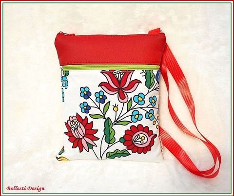 Kalocsai mintás tarisznya  (BellestiDesign) - Meska.hu  #táska  #kalocsai  #magyaros #egyedi #kézműves #válltáska #rendelhető #webshop #bags #fashion #woman #divat #design