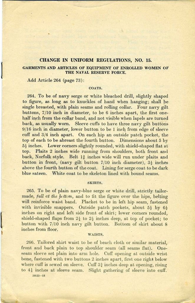 US Navy Reserve Force, Yeoman F, Uniform Regulations. WWI  Page 1   Collection of Curator Branch Naval History and Heritage Command Collection of Navy  Department Library.
