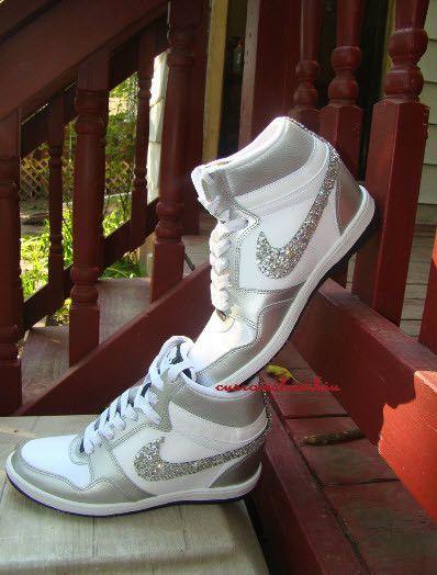 Bling Rhinestone Silver White Nike Sky Force Dunk Wedge Sneaker