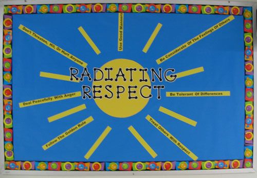 How do you radiate respect?- Like this board, but think it would be a good idea to have each student write out how they respect others or give ideas for me to write out on a ray.