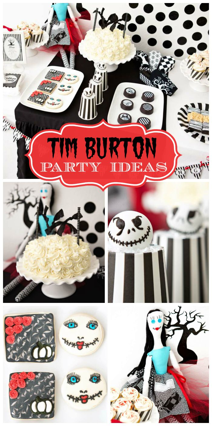 a fabulous tim burton halloween party with cake pops chocolate covered oreos and a button - Tim Burton Halloween Decorations
