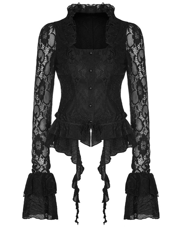 Punk Rave Damen Gotik Bluse Spitze schwarz Blumen Spitze Steampunk | eBay
