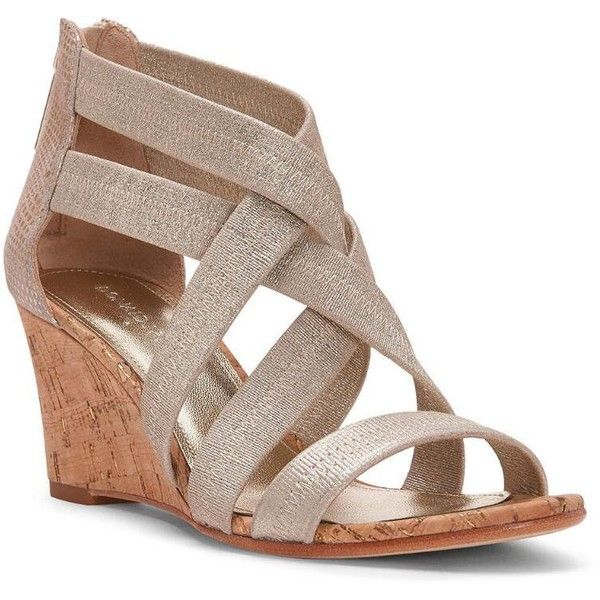 Donald J Pliner Women's Jemi- Silver (5) ($228) ❤ liked on Polyvore featuring shoes, sandals, leather, metallic, silver, wedge sandal, silver wedge shoes, strap sandals, metallic wedge sandals and silver sandals