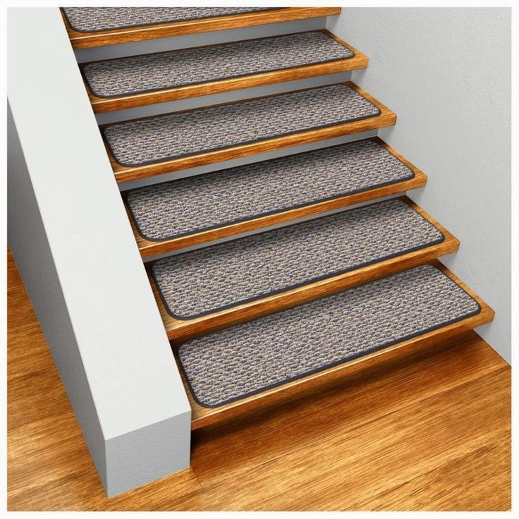 Best No Slip Treads for Stairs Ideas : Straight Stair Design With Brown Wooden Treads And Gray Anti Slip Tread Mats Combine With Brown Parquet Floor Also White Wall Paint