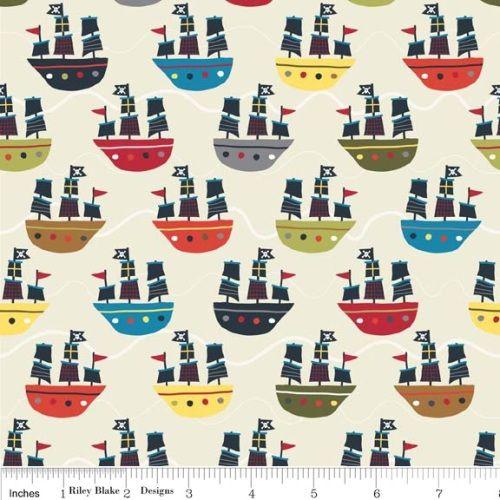 Riley Blake Fabric - Cream - Treasure Map Pirate Ship - 100% Cotton