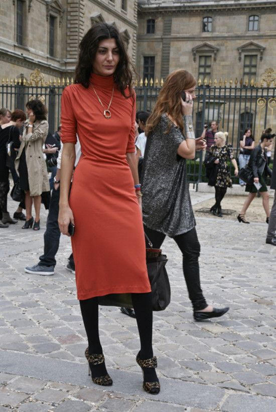 Giovanna Battaglia in an Orange Dress