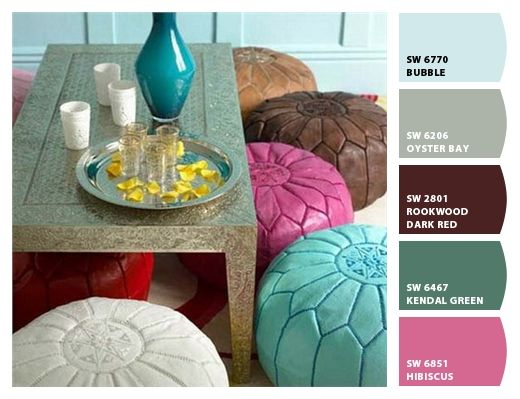 Low Dining Table With Poufs Or Pillows For Seats
