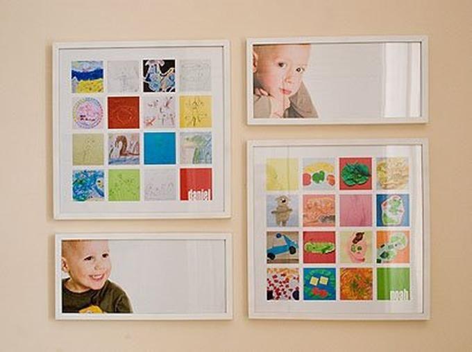 Foto: Leuk idee. Kinderen komen regelmatig thuis met tekeningen en knutsels die je onmogelijk allemaal kan bewaren. Maak een foto van het kunstwerk (of scan ze in) en maak er een collage van. Zo heb je ze toch bewaard!. Geplaatst door Fioontje1981 op Welke.nl