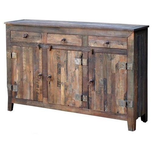 Jaipur Furniture Vintage Weathered Solid Wood 3 Door 3 Drawer Sideboard Miskelly Furniture