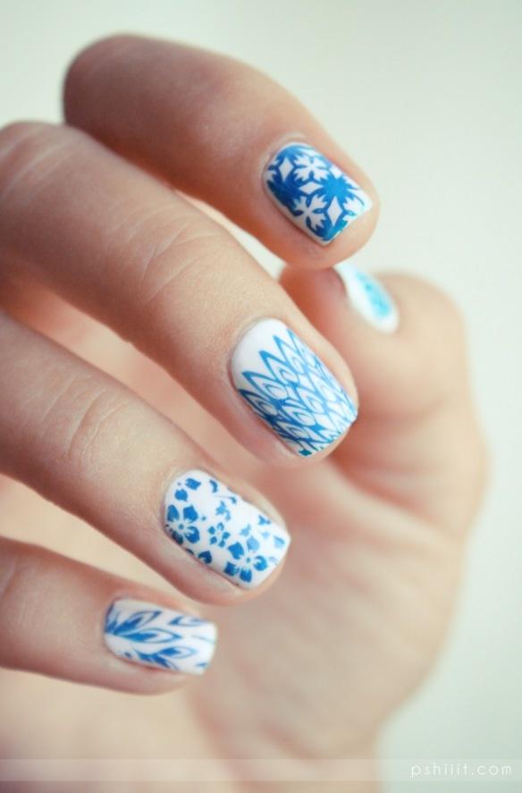Blue accents: Blue Accent, Nails Art, Accent Nails, Nails Design, Ongles Porcelain, Ongles De, Paintings Nails, Gorgeous Nails, Blue Nails