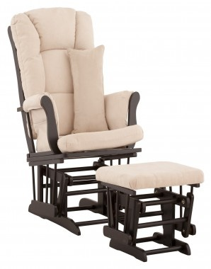 Storkcraft Custom Tuscany Glider and Ottoman in Black with Free Lower ...