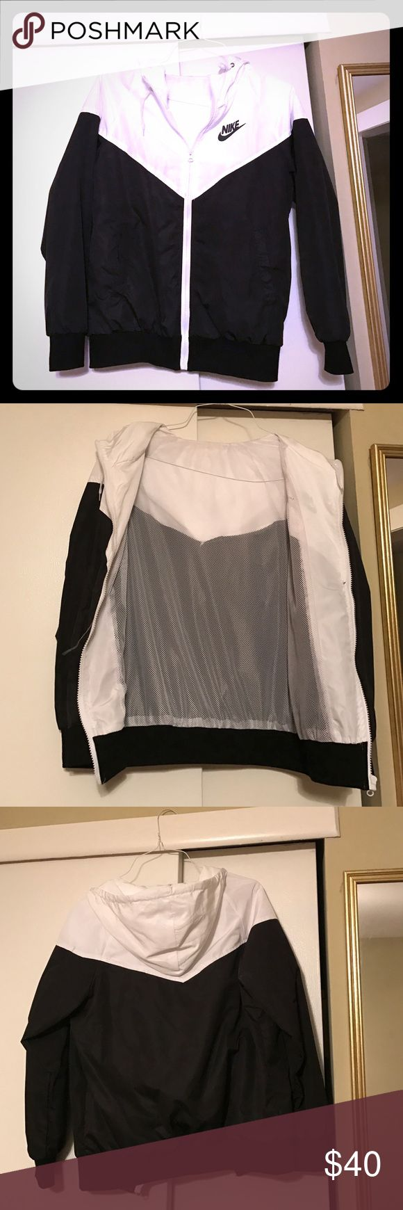 Nike Windrunner Black and white windrunner with mesh lining, inside tag taken off by owner; worn one time Jackets & Coats Utility Jackets