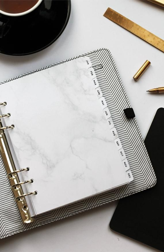 Monthly Dividers A5 Marble Planner Dividers With Letterpress Tabs Laminated Dividers Minimal Planner Accessories Filofax Lv Agenda Marble Planner Planner Dividers Planner