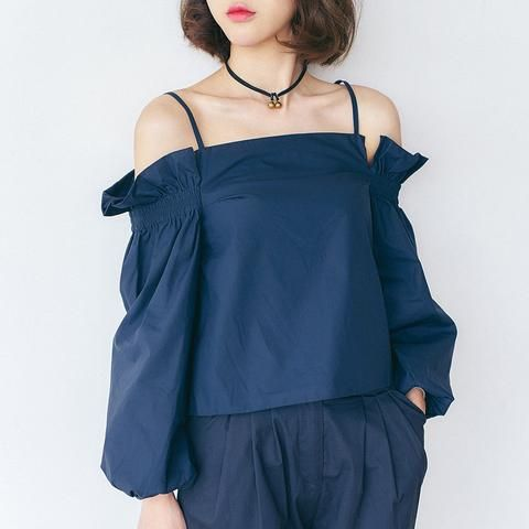 Korean fashion strapless long-sleeved T-shirt - AddOneClothing - 1
