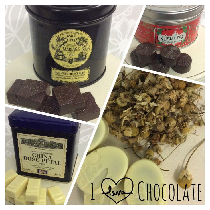Cioccolatini con ripieno di infusi e the selezionati.