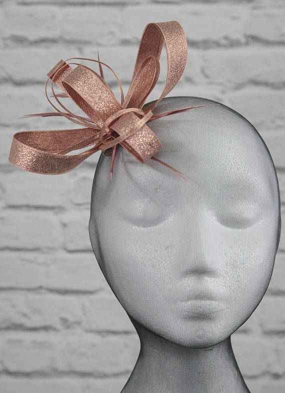 Metallic rose gold fascinator on a comb Alice band or clip ... 5f6aafeaa87