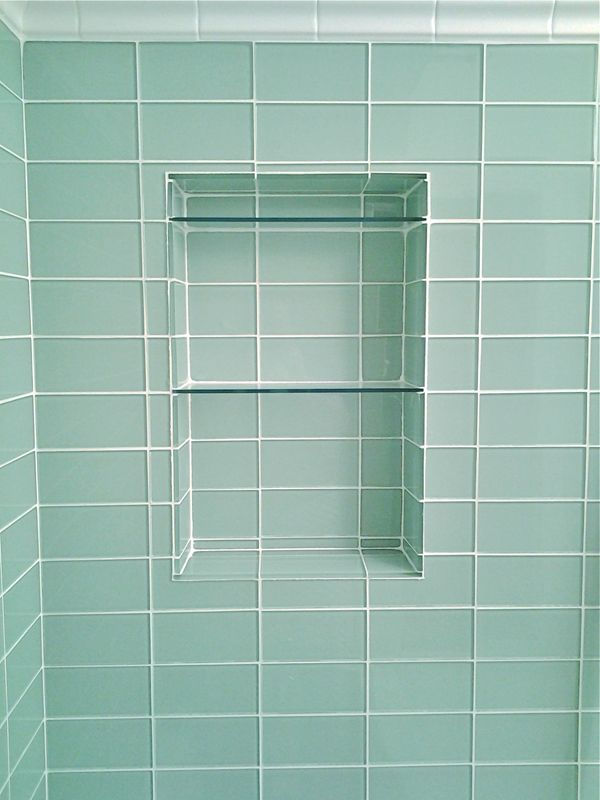 glass subway tile niche bathroom plans pinterest
