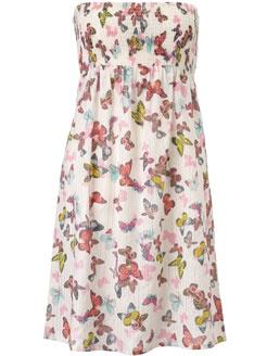 Butterfly Cotton Lurex Bandeau Dress