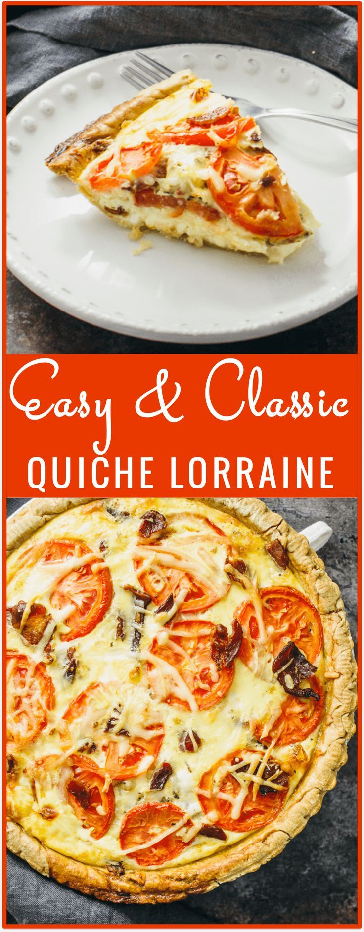 Quiche lorraine - Slice into this comforting quiche lorraine, filled with crispy crumbled bacon, sliced tomatoes, eggs, and pepper jack cheese. Its an easy oven recipe for a classic and healthy quiche lorraine. - savorytooth.com