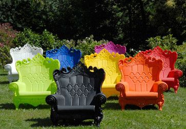 Queen of Love Armchair...  Not only is this incredibly fun chair ecofriendly in recyclable plastic in 14 vibrant UV-resistant colors, but it's big enough for two to enjoy. For indoors or out, these chairs go everywhere, and I want one on wheels for my place.