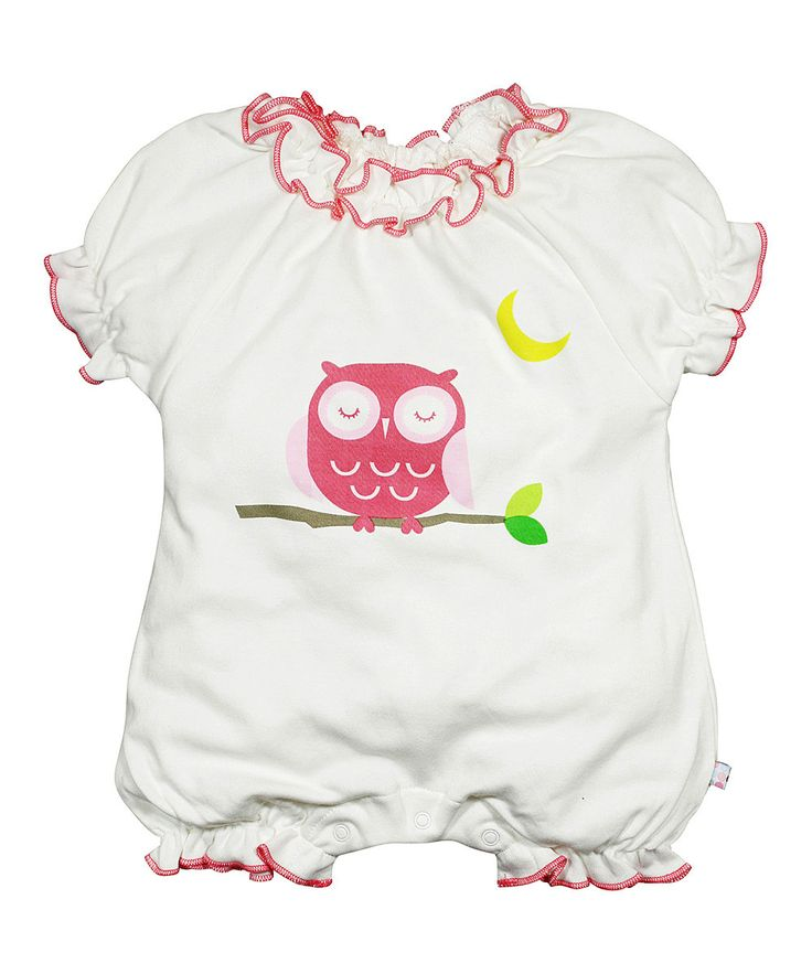 babysoy White & Pink Owl Ruffle Organic Romper - Infant by babysoy #zulily #zulilyfinds
