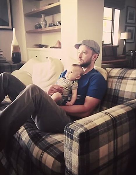 Justin Timberlake and son Silas watch golf