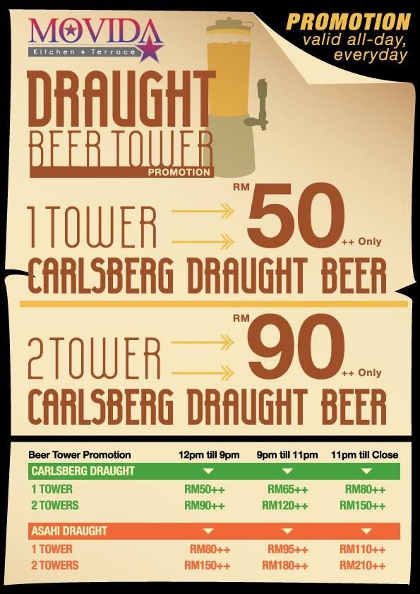 MOVIDA Beer Tower Promotion! Valid Everyday from 12noon till 9pm! The BEST Deals in Town!