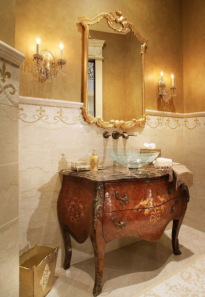 Luxurious Powder Room With Elegant Louis Xv Style Carved