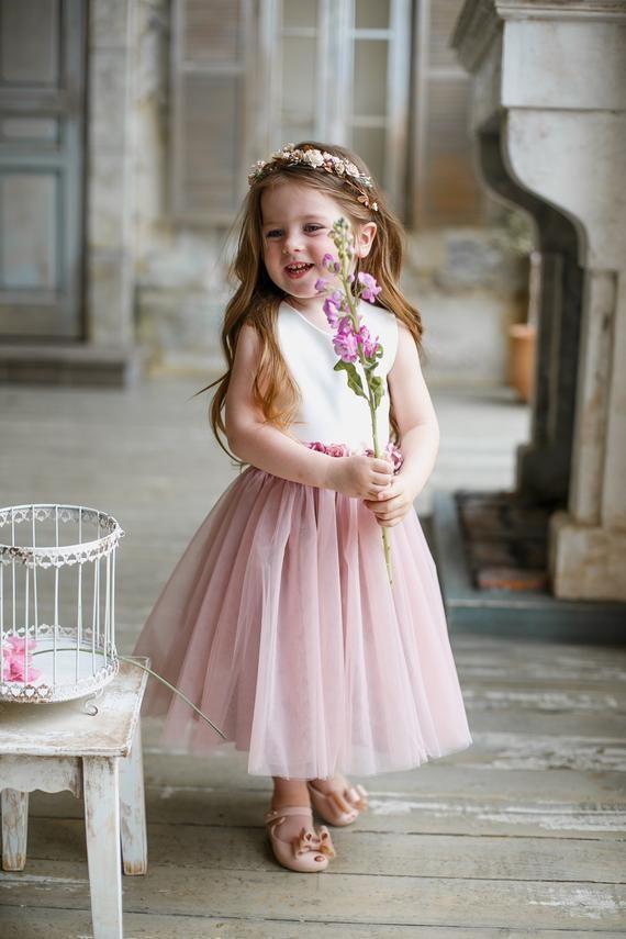 3ae66a6e9d6 Flower girl dress Dusty rose Flower girl dress Mauve child