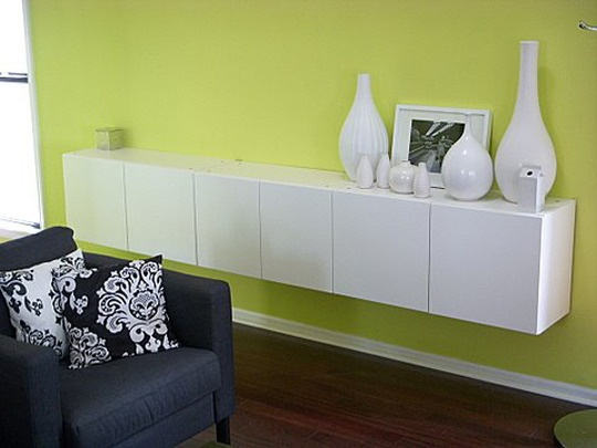 21 best images about floating credenza on pinterest for Small kitchen wall storage solutions