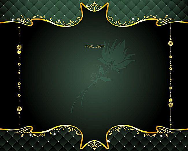 Green Gold Frame Vector European Pattern Background Background Patterns Wedding Invitation Background Invitation Background