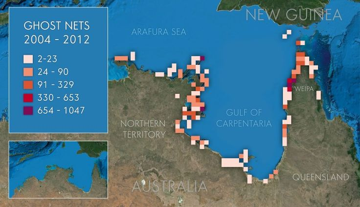 Scope of the Problem; Information surveyed by Ghost Nets Australia from Broome WA to Lockhart River, east coast of Queensland, found that 90% of the nets are found in the northern half of the Gulf of Carpentaria.