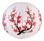 "14"" Japanese Plum Tree Paper Lantern - 1.88"