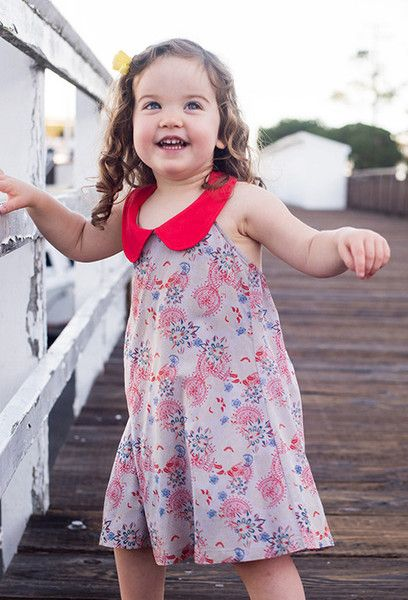 Whether you're seaside for the summer or simply dreaming of a coastal getaway, girls dresses have never looked -- or felt! -- so good. This chic halter dress features a playful Peter Pan collar and twirling, swirling print. 100% viscose cotton with collar.  $ 23.95   #girlsfashion #kidsfashionbook #cutekids #girlsclothes #kidslookbook #ootd #kidsootd #igcutest #kidsstyle #cute #hipkidfashion #kidsgotstyle #kidsbabylove #minifashionstyles #igminifashion #freetobekids #minifashiontrends