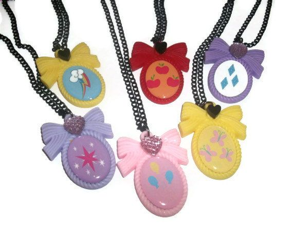 Cutie Mark Necklace, My Little Pony Friendship is Magic, Kawaii Pastel Cameo Necklace on Etsy, $11.99