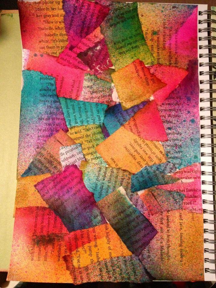 Encre pulvérisée sur papier puis dechirer et coller