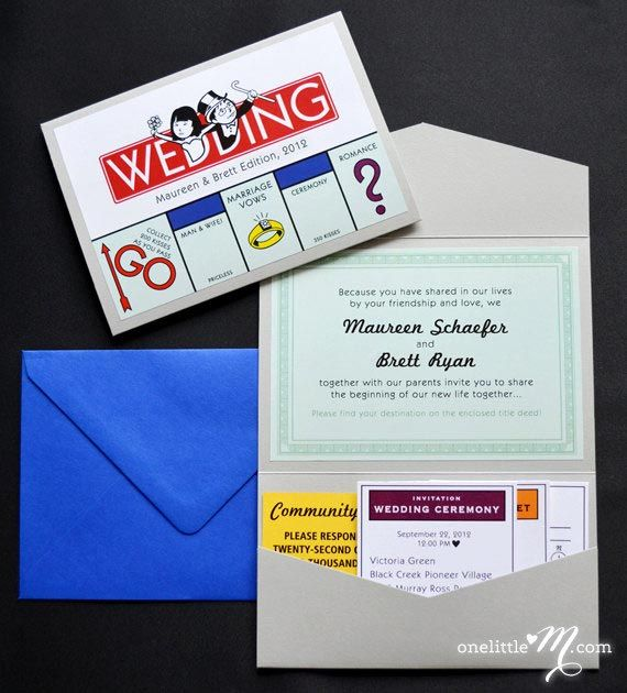 Do you and your partner love a good, competitive board game? This Monopoly themed invitation from PaperTruly is amazing. Continue the theme with a quirky table plan and Monopoly inspired table names to match.