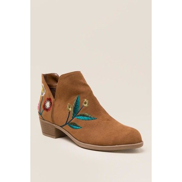 Indigo Rd Chanted Embroidered Ankle Boot - Tan (1,015 MXN) ❤ liked on Polyvore featuring shoes, boots, ankle booties, tan, side cut out ankle boots, ankle boots, bootie boots, tan ankle booties and tan ankle boots