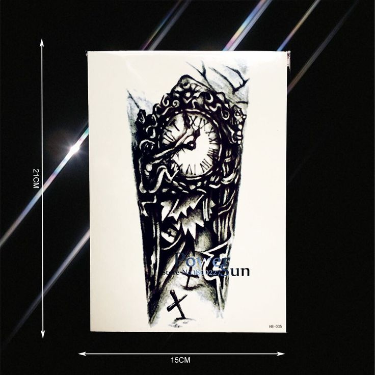 DIY Waterproof Tattoo Dark Grave Clock Devil Design Fake Arm Leg Tatoos Body Art…