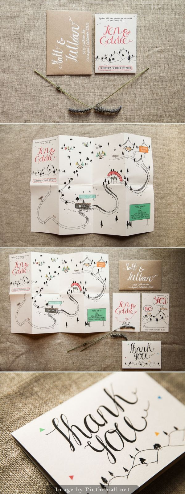 Light and airy feminine wedding invitation, thank you card, and map. Pink hand lettering on white paper w/ thin black lines for illustration & white ink on kraft paper. Accent colors of green, pink, blue & yellow used sparingly.