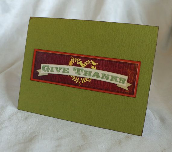 Give Thanks Card Autumn Fall Thanksgiving by WistfulWhimsyDesigns
