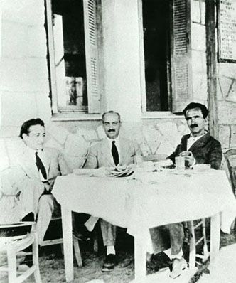 With P. Prevelakis and K. Eleftheroudakis somewhere in the Peloponnese, 1927